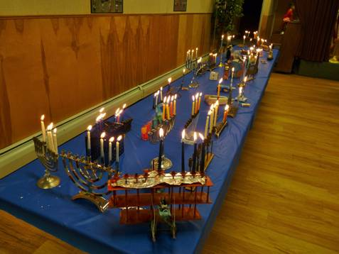 Hannukah - menorah table